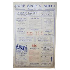 Vintage 1943 Baseball World Series Bar Score Sheet Results Sign