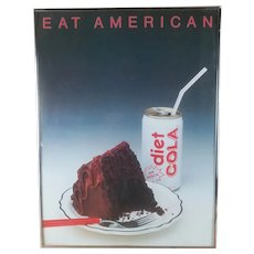 """1984 Chroma Litho Photograph """"Eat American"""" by Norman Millar, Framed, Cake and Diet Cola FREE SHIPPING"""