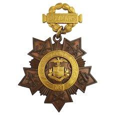 1894 Tiffany & Co 20 Year Faithful Service NY National Guard 1894 Major Olmsted, Civil War Veteran