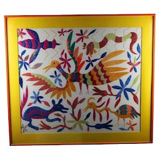 Framed Animal Crewel Embroidery, Mid Century Modern MCM Vintage circa 1960's Trippy Colors and Design  FREE SHIPPING!!
