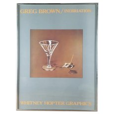 "Original 1982 Greg Brown  Print ""Inebriation"" Whitney Hopper Graphics"
