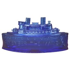 Antique Remember the Maine Gunboat/Battleship Cobalt Blue Glass Mustard Dish