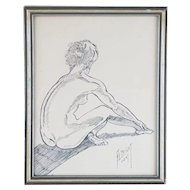 Original Nude Female Original Nude Female HENRY JAMES ALBRIGHT (1887-1951) Ink Line Drawing 1947
