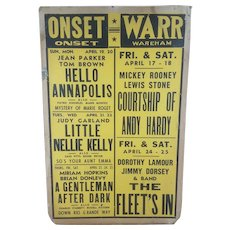 Original 1942 Warr & Onset Massachusetts Theater Movie Poster