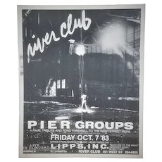 "1983 NYC Gay Club Poster ""River Club"" West Street Piers Farewell Concert with Lipps Inc"