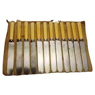 Antique circa 1860's Green River Works John J. Russell & Co Bone Handle Table Knives Set of 12