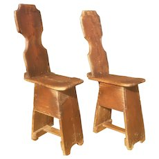 FREE SHIPPING! Primitive Pair of Wood Farmhouse Chairs