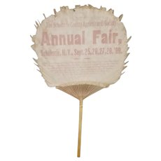 Antique 1899 Schoharie New York Fair Souvenir Fan with Train Schedule