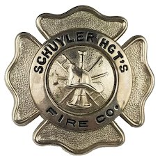 Vintage Fire Department Badge - Schuyler Heights Fire Company - Watervliet NY - Obsolete