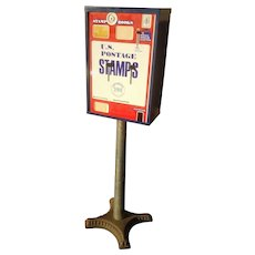 Vintage Porcelain US Stamp Vending Machine with Cast Iron Base FREE SHIPPING!