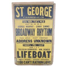 Original 1944 St. George Movie Theater Poster, Framingham Massachusetts  FREE SHIPPING