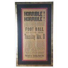FREE SHIPPING! Early 1900's Vergennes VT High School Football Game Broadside Poster