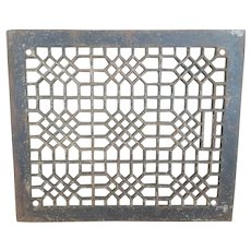 Antique Large Cast Iron Victorian Cold Air Return Floor Grate Register FREE SHIPPING!