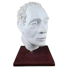 Vintage 1980s Clay Plaster Contemporary Sculpture, Large Over-sized Head/Bust By Ron Rudnicki (1956-2016) Massachusetts