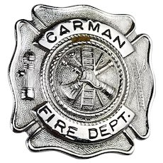 Vintage Carman Fire Department Badge Schenectady NY