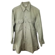 Vintage World War Two Era Wool Shirt Uniform - Excellent Condition - Free Shipping