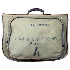 """WWII Army Air Force Garment Bag, Type B-4, 447th Bomb Group """"Satchel Lass"""" B-17 Bomber Radio Operator-Gunner, Distinguished Flying Cross"""