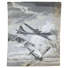 B-29 vs Japanese Fighter Planes - Original WWII Wartime Painting