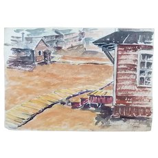 "Original 1942 WWII Watercolor Painting ""Duckboards"" by Sgt Laurel M. Olmsted"