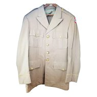 ID'ed 1945 WWII Officer's Uniform Jacket Coat Tropical Khaki - Marvin Snyder Army Service Forces