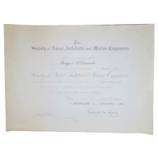 1921 Society of Naval Architects & Marine Engineers Certificate Signed Rear Admiral Washington Lee Capps