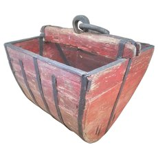 Free Shipping! Primitive Chinese Wooden Well Bucket- Hand Forged Iron Hardware - Rustic