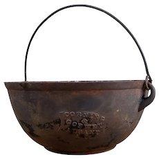 Antique Cast Iron Kettle - Pot, Corning & Goewey, Albany NY, Wire Bail Handle, Civil War Era