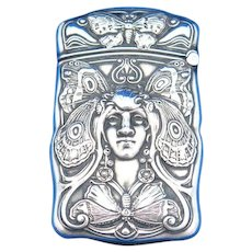 Butterfly lady motif match safe, sterling by Gorham Mfg. Co., mfg. #B2299, 1908