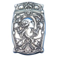 Art Nouveau woman and flower motif, match safe, sterling by Gorham Mfg. Co., B2148, c. 1905