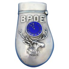 Benevolent and Protective Order of Elks, B.P.O.E., elk's tooth match safe, blue enamel clock, elk's head, sterling by Simons Bro. & Co., Pat. Nov. 14, 1899