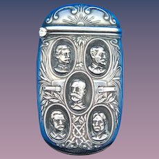 Spanish American War heroes-Sampson, Roosevelt, Schley, Hobson match safe, sterling by Mauser Mfg. Co., #4103, 1901