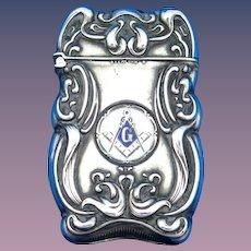 Enameled Mason emblem, Blue Lodge Masonary, match safe, sterling by F. S. Gilbert. c. 1900