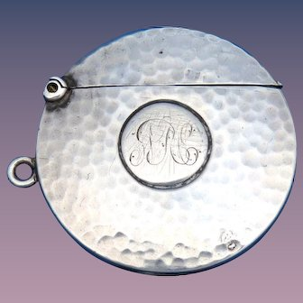 Circular match safe with hammered finish, sterling by Sampson Mordan & Co., 1907 London hallmarks