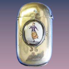 Lady roller skater match safe, enamel plaque, by H. J. & Co., original c. 1900