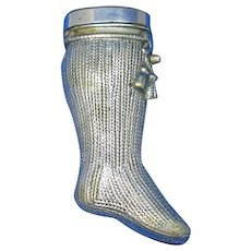 Figural knitted sock with tassels match safe, nickel plated brass, c. 1890, very unusual