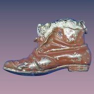 Figural puss'n boots match safe, 1893, with original cold paint finish, Rd #218,947