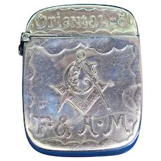 Free & Accepted Masons match safe, Gus Schwitzer, Oriental Lodge #51, Newark, NJ, sterling, c. 1905