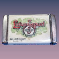 Lotos Export/Adam Scheidt Brewing , Norristown, PA match safe, celluloid wrapped, by Whitehead & Hoag, c. 1905