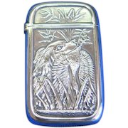 Hunting motif , dog  with duck, match safe, silver plated by Pairpoint Mfg. Co., cat. #5006, c. 1895