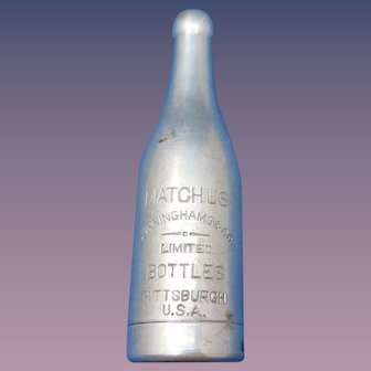 Figural bottle match safe, advertising Matchus, Cunninghams & Co. Limited, Pittsburgh, PA, aluminum, c. 1900