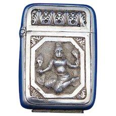 Burmese dancers motif match safe, high grade silver, c. 1900