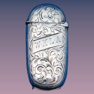 Engraved foliate motif match safe, sterling by Hilliard & Thomason; English Birmingham hallmarks 1881