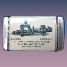 Cameron Piston Pumps advertising match safe, celluloid wrapped by Whitehead & Hoag Co., c. 1903