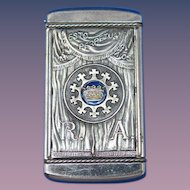 The Supreme Council of the Royal Arcanum match safe with enamel highlights by August Goertz & Co., Pat. Jan. 12, 1904