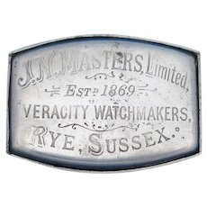 Ne Plus Ultra trick match safe adv. J.N. Masters, Veracity Watchmakers, Rye, Sussex, nickel plated brass, c. 1889