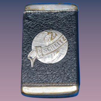 Schlitz Beer advertising match safe, leather wrap by August Goertz & Co., c. 1900
