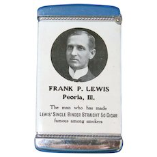 Frank P. Lewis Single Binder Cigar/Ten Year Calendar match safe, celluloid wrapped by Whitehead & Hoag, c. 1905