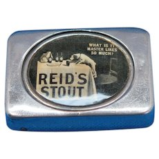 Reid's Stout advertising trick match safe, nickel plated brass, patent number 3,300 of Feb. 15, 1901
