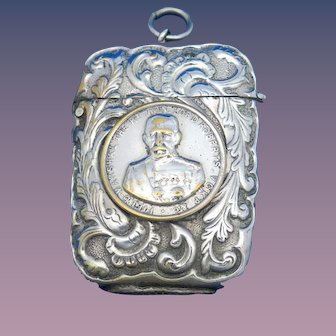 Field Marshall Lord Roberts match safe, nickel plated brass, c. 1895