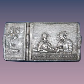 Early German hunting motif match safe, double compartments for cigar tips & matches, pewter, c. 1850